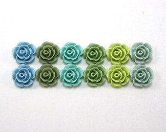 12 pcs Resin Flower Cabochons - 10mm Camellias - Blues and Greens - Matte Mix