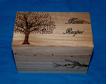 Decorative Wood Burned Wedding Recipe Card Box Rustic Wooden Recipe Box Wedding Tree Personalized Wood Box Carved Love Birds