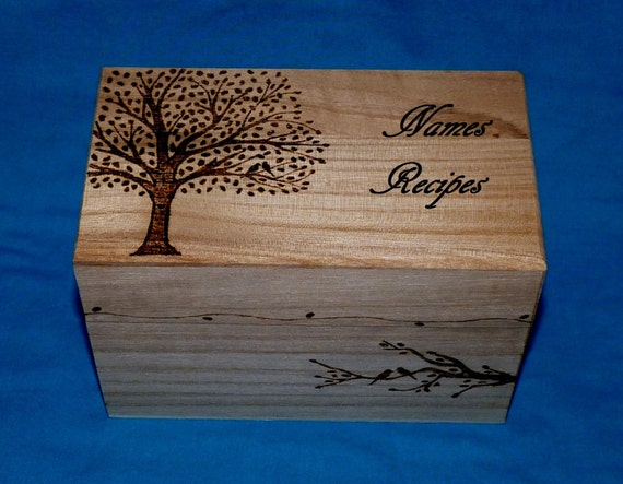 Decorative Recipe Box Amazing Decorative Wood Burned Wedding Recipe Card Box Rustic Wooden Design Inspiration