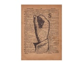 Book Art, Finger Spelling Sign Language Typography Print, 1800's Art Illustration & Dictionary Page, Letter S