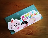 Korean Mini Card Set - Happy Birthday Cat