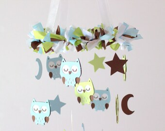 Owl Nursery Mobile in Baby Blue, Green, Brown & White- Baby Mobile, Crib Mobile, Baby Shower Gift