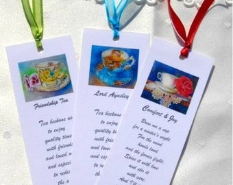 Set of 3 Teacup Bookmarks Party Favors Gifts Friends Set #2