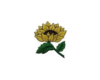 ID #6030 Yellow Sunflower Flower Flora Garden Iron On Embroidered Patch Applique