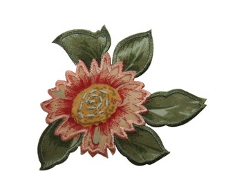 ID #6308 Pink Yellow Silk Screen Flower Iron On Embroidered Applique Patch