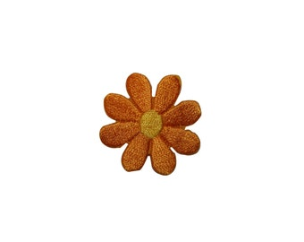 ID #6380 Orange Daisy Flower Iron On Embroidered Patch Applique