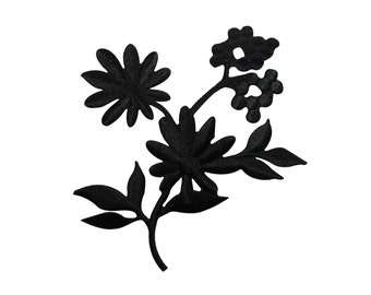 ID #6812 Black Wildflower Blossoms Buds Plant Iron On Embroidered Patch Applique