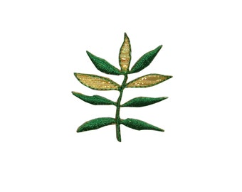 ID #7217 Yellow and Gold Plant Leaf Leaves Iron On Embroidered Patch Applique