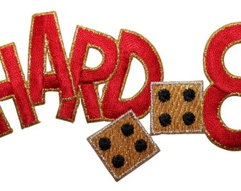 """ID #8569 Craps """"Hard 8"""" Casino Gambling Dice Embroidered Iron On Applique Patch"""