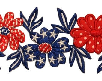 ID #1085z Flower Patriotic America USA Daisy Embroidered Iron On Badge Applique Patch