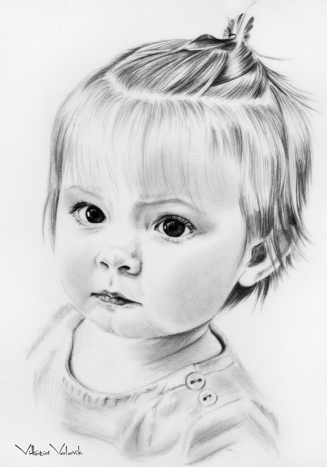 Custom Baby portrait Pencil Drawing from your photo Sketch