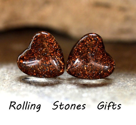 Sable Shimmer Glitter Back Glass 12mm Heart Stud Earrings-Brown Glittery Heart Stud Earrings-Large Medium Brown Heart Studs-Surgical Studs