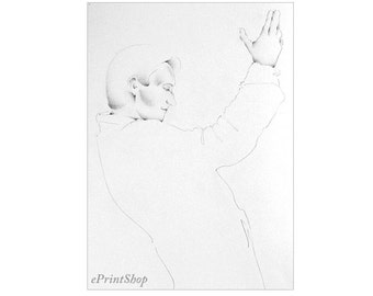 "She & Her Hand V  - Pencil Drawing Print 8.5"" x 11"""