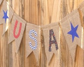 USA burlap bunting // Stars // 4th of July // Memorial Day