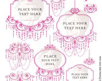 Chandelier Retro Frames Pink Silhouette Elegant Ornate Border Frames Png Files Cardmaking Wedding Invites Scrapbook Craft Clip Art 10495