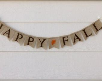 HAPPY FALL burlap banner - FALL burlap banner - Holiday banner - Thanksgiving banner -