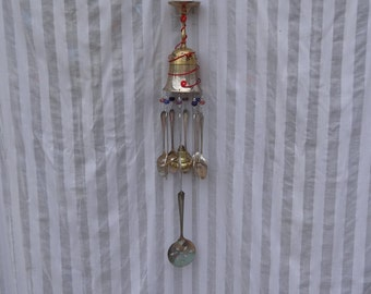 Whimsical Brass Goblet Silver Plated Flatware Wind Chime WC-046