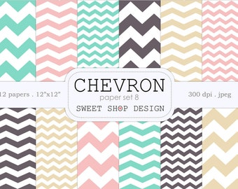 Digital Paper, Printable Scrapbook Paper Pack, 12x12, Chevron N08, Set of 12 Papers