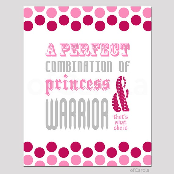 Princess Girl Quotes: Girls Princess Warrior Quote Wall Art Print By OfCarola On