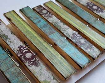 Blue green stripes decoupage clothespins set of 10