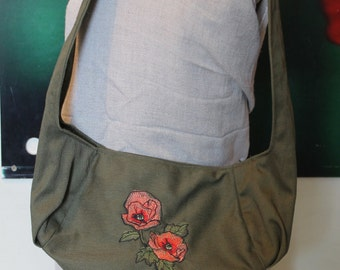 Olive Green Purse with Embroidered Poppies