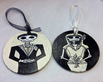 Dia de los Muertos Bride & Groom Inspired Hand Painted Glass Ornaments (Set of Two)