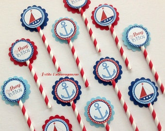 Ahoy It's A Boy Cupcake Toppers - Set of 12