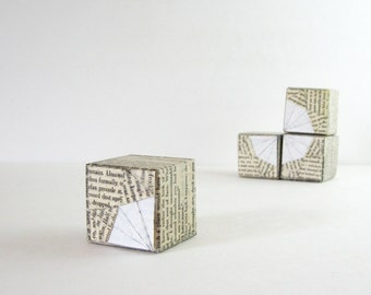 Origami Art Blocks No29 White Paper Sculpture - Wood Art Blocks - Gouache Painting - Book Paper Art - Black & White Art - Modern Home Decor
