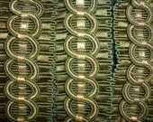 Antique fabulous gold metallic & green silk corded braid  c1880 27 ins x 1 5/8 ins wide