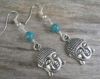 Turquoise Buddha Earrings, Buddhist Earrings, Composite Turquoise Earrings,  Buddha Jewelry, Boho Earrings, Yoga Earrings, Blue & Silver, Om