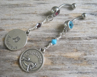 Capricorn Belly Ring, Zodiac Belly Button Jewelry, Personalized Birthstone Piercing,Garnet Turquoise Jewelry, Astrology Navel Ring