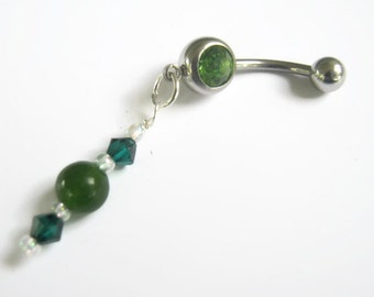 emerald belly ring etsy