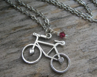 Bicycle Charm Necklace, Personalized Birthstone Jewelry, Bike Messenger Necklace, Fixed Gear, Fixie, Choose Your Length, Silver