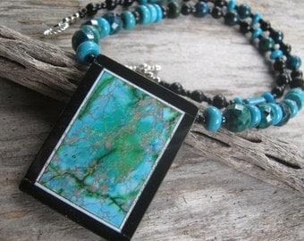 Intarsia Turquoise Necklace, Azurite Malachite Necklace, Black Onyx Necklace, Rectangular Statement Necklace,  READY To SHIP