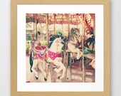 Carousel horse, nursery art, neutral nursery decor, nursery wall art, nursery prints, baby room decor, large art, large wall art,toddler art