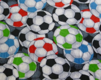 "Multiple Soccer Balls Fleece no sew Blanket with Black Back 26"" x 60""- double sided- Lap Blanket Sports Throw- Outdoor Stadium Throws"