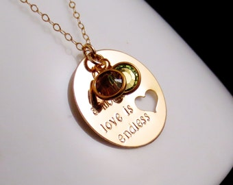 Personalized Gold Mommy Necklace, Handstamped Birthstone Mom Jewelry, A Mother's Love Is Endless, Childrens Kids Names, Mothers Day Gift