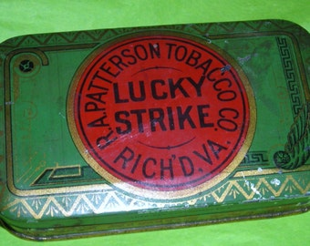 The Tailor Smoked Lucky Strikes .......Vintage Hinged Lucky Strike Tin .......With Tailor's Chalk....NP1