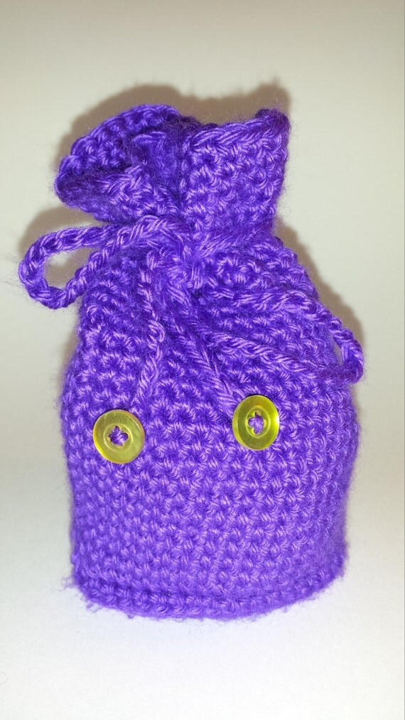 Crocheted drawstring dicebag dice bag purple amethyst iris and