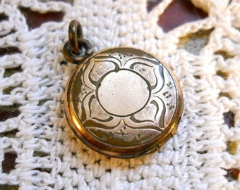 French Country Antique 1800s Arts and Crafts Lotus Victorian Edwardian Vintage Etched Carved Rolled Gold Plated Round Locket Pendant
