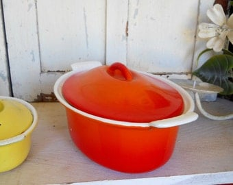 Vintage 1960's Mid Century Danish Modern Flame Orange Belgium Descoware Porcelain Iron French Country Casserole Baking Dish Covered Bowl