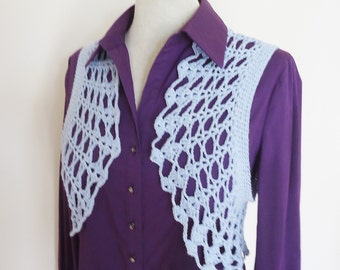 Crochet Bolero, Cotton Bolero Jacket, Crochet Lace Shrug, Crochet Jacket,  Blue Cotton Lace Bolero Shrug