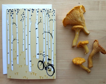 Black Bicycle Chanterelle Foraging Notecard in a Birch Tree Grove (Blank) 4x6
