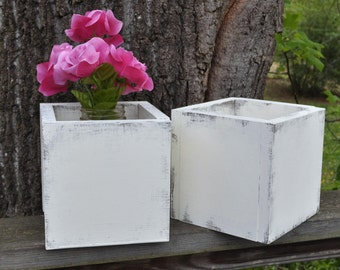 Custom Listing Set of 2 Shabby and Vintage style  Wooden  Vase  Planters  Perfect for weddings, hostess gifts and home decor