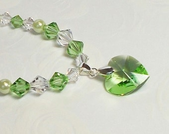 Swarovski Peridot Crystal Heart Pendant With Peridot And Cristal Bicones And Glass Pearl Necklace