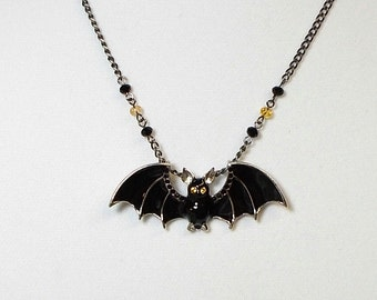 Bat Pendant Necklace Black Bat With Amber Rhinestone Eyes And Crystal Pendant Necklace