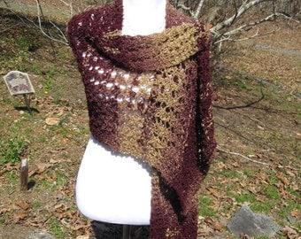 Maroon Gold Handmade Wrap Hand Knit Shawl in Ariel Lace