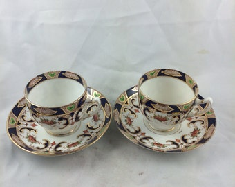 Antique English colbalt blue gilded pair teacups tea party set free shipping