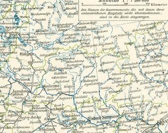 Central Russia  historical map  Volga delta  Caspian Sea  Black Sea  19th century map : Antique 1890s lithograph original old book plate