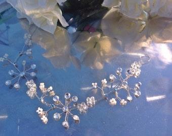 "Wedding hair vine, Bridal headpiece, Tiara, halo, crown, Bohemian,bling, silver, pearls, rhinestones, crystals, bridesmaid,prom, 10""/25cm."